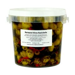 OLIVES RUSTICHELLA - Mix Black/Green Marinated Large Pitted Olives - 2.9Kg - BELLORTO