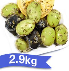 "BELLORTO - OLIVES AMALFI 2.9kg ""Giant Green and Black Olives in Herbs and Lemon Juice"""