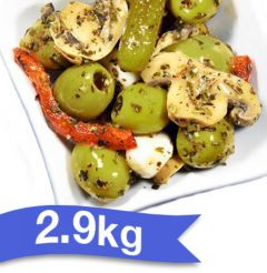 "BELLORTO - OLIVES CONTADINA 2.9kg ""Pitted Green Olives Marinated Mixed with Mushroom """
