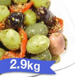 "BELLORTO - OLIVES ISCHITANA 2.9kg ""Whole Green and Kalamata Marinated Olives mixed with Peppers"""