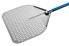 GIMETAL - Stainless Rectangular Perforated Pizza Peel - 45x45x150cm
