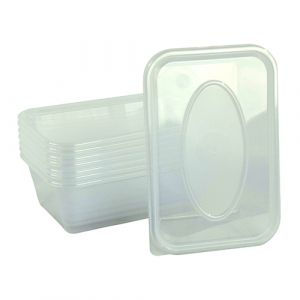 SILVER STAR - Plastic Containers + Lids Rectangular (650ml 1x250  SETS)